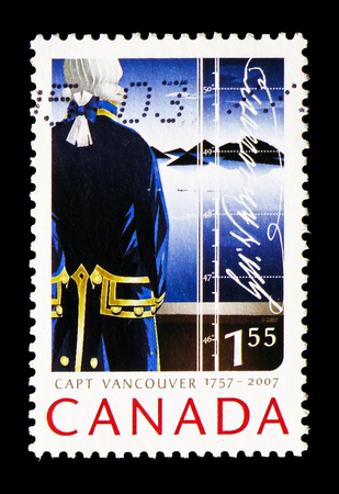 MOSCOW, RUSSIA - AUGUST 18, 2018: A stamp printed in Canada shows Captain George Vancouver, 250th Anniversary of Captain George Vancouver serie, circa 2007