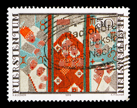 MOSCOW, RUSSIA - AUGUST 18, 2018: A stamp printed in Liechtenstein shows Tapistry, serie, circa 1979