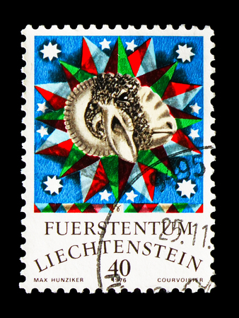 MOSCOW, RUSSIA - AUGUST 18, 2018: A stamp printed in Liechtenstein shows Aries, Zodiac serie, circa 1976 Editorial