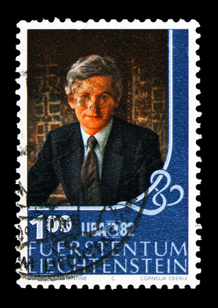MOSCOW, RUSSIA - AUGUST 18, 2018: A stamp printed in Liechtenstein shows Prince Hans Adam, Stamp exhibition LIBA serie, circa 1982