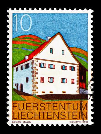 MOSCOW, RUSSIA - AUGUST 18, 2018: A stamp printed in Liechtenstein shows Meierhof Triesen, Buildings serie, circa 1978 Editöryel