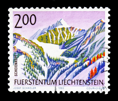 MOSCOW, RUSSIA - AUGUST 18, 2018: A stamp printed in Liechtenstein shows Scheienkopf, serie, circa 1990 Editorial