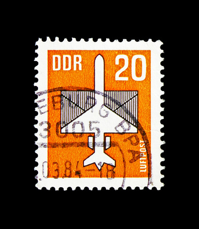 MOSCOW, RUSSIA - AUGUST 18, 2018: A stamp printed in Germany Democratic Republic shows Airmail, serie, circa 1983