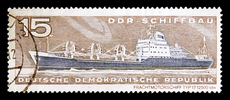 MOSCOW, RUSSIA - AUGUST 18, 2018: A stamp printed in Germany Democratic Republic shows , Ship building serie, circa 1971 Editorial