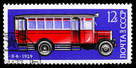 MOSCOW, RUSSIA - OCTOBER 21, 2018: A stamp printed in USSR (Russia) shows Bus Ya-6 (1929), History of Soviet Motor Industry serie, circa 1973