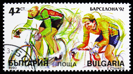 MOSCOW, RUSSIA - OCTOBER 21, 2018: A stamp printed in Bulgaria shows Cycling, Summer Olympic Games 1992 - Barcelona (I) serie, circa 1990