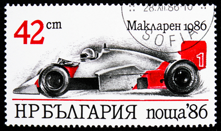 MOSCOW, RUSSIA - OCTOBER 21, 2018: A stamp printed in Bulgaria shows MacLaren (1986), Racing Cars serie, circa 1986