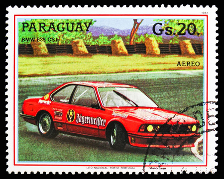 MOSCOW, RUSSIA - OCTOBER 21, 2018: A stamp printed in Bulgaria shows Bmw 635 Csi, Touring car serie, circa 1987