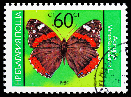 MOSCOW, RUSSIA - OCTOBER 21, 2018: A stamp printed in Bulgaria shows Red Admiral (Vanessa atalanta), Butterflies serie, circa 1984 Editorial