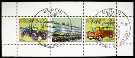 MOSCOW, RUSSIA - OCTOBER 21, 2018: A stamp printed in Germany shows Horch 8Trabant 601 S, Automobile In Zwickau serie, circa 1979