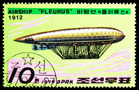 MOSCOW, RUSSIA - OCTOBER 21, 2018: A stamp printed in Korea shows Fleurus, Zeppelins serie, circa 1979 Sajtókép