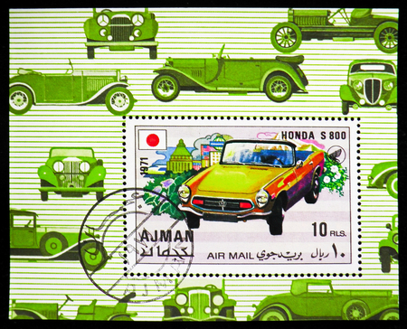 MOSCOW, RUSSIA - OCTOBER 21, 2018: A stamp printed in Ajman shows Honda S 800, Sports cars serie, circa 1971 Redactioneel