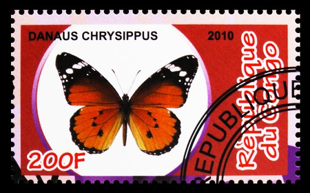 MOSCOW, RUSSIA - OCTOBER 21, 2018: A stamp printed in Congo shows Danaus Chrysippus, Butterflies serie, circa 2010 Redakční