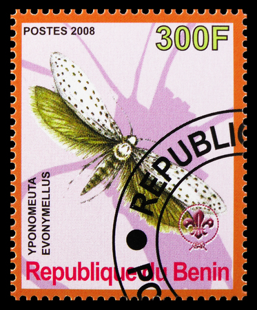 MOSCOW, RUSSIA - OCTOBER 21, 2018: A stamp printed in Benin shows Yponomeuta Evonymellus, Butterflies serie, circa 2008 Editorial