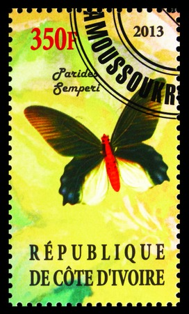 MOSCOW, RUSSIA - OCTOBER 21, 2018: A stamp printed on Ivory Coast shows Parides Sempery, Butterflies serie, circa 2013