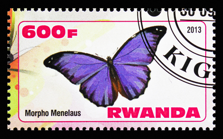 MOSCOW, RUSSIA - OCTOBER 21, 2018: A stamp printed in Rwanda shows Morpho Menelaus, Butterflies serie, circa 2013