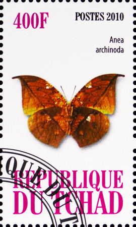 MOSCOW, RUSSIA - OCTOBER 21, 2018: A stamp printed in Chad shows Anea archinoda, Butterflies serie, circa 2010 Sajtókép