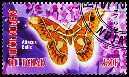 MOSCOW, RUSSIA - OCTOBER 21, 2018: A stamp printed in Chad shows Attacus Betis, Butterflies serie, circa 2013