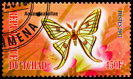MOSCOW, RUSSIA - OCTOBER 21, 2018: A stamp printed in Chad shows Actias Iabellae, Butterflies serie, circa 2013