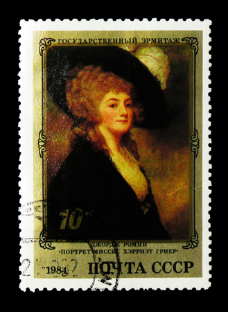 MOSCOW, RUSSIA - MARCH 31, 2018: A stamp printed in USSR (Russia) shows Portrait of Mrs. Harriet Greer (George Romney), English Paintings in Hermitage serie, circa 1984 Editorial