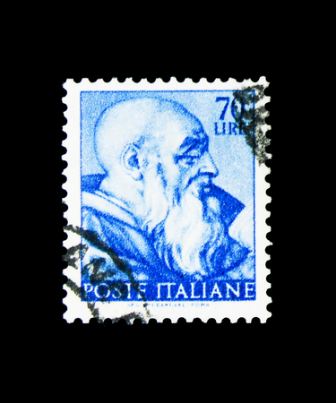 MOSCOW, RUSSIA - APRIL 15, 2018: A stamp printed in Italy shows Head of the prophet Zechariah, Works of Michelangelo serie, circa 1961