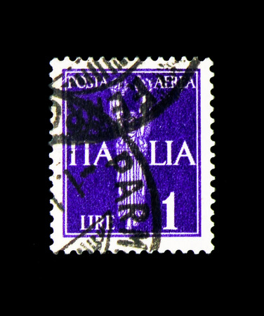 MOSCOW, RUSSIA - APRIL 15, 2018: A stamp printed in Italy shows Victoria, Allegorical subjects serie, circa 1930 Editöryel