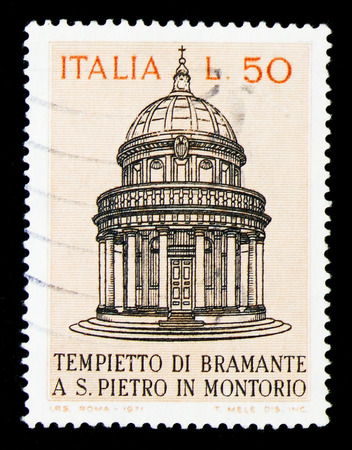 MOSCOW, RUSSIA - APRIL 15, 2018: A stamp printed in Italy shows Bramantes Temple, circa 1971