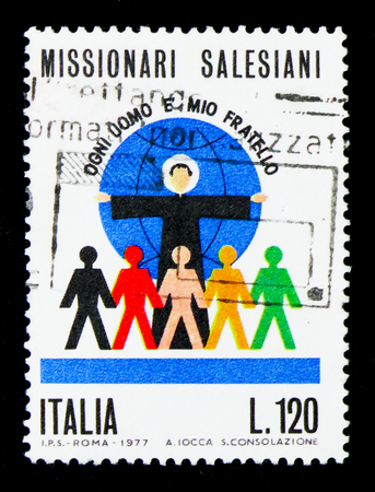 MOSCOW, RUSSIA - APRIL 15, 2018: A stamp printed in Italy shows Salesian Missionaries, serie, circa 1977