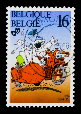 MOSCOW, RUSSIA - APRIL 15, 2018: A stamp printed in Belgium shows Youthphilately - Cubitus, serie, circa 1994 Editorial