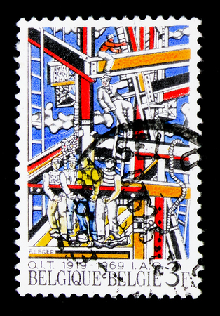 MOSCOW, RUSSIA - APRIL 15, 2018: A stamp printed in Belgium shows Construction, I.A.O., International Accreditation Organization, serie, circa 1969 Editorial