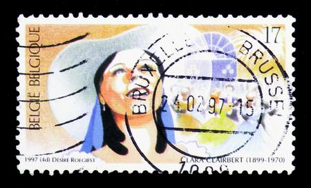 MOSCOW, RUSSIA - APRIL 15, 2018: A stamp printed in Belgium shows Opera, Clara Clairbert, serie, circa 1997 Editorial