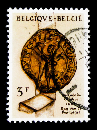 MOSCOW, RUSSIA - APRIL 15, 2018: A stamp printed in Belgium shows Wax seal, Stamp Day serie, circa 1961