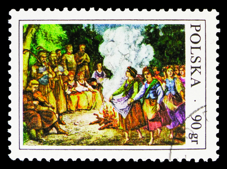 MOSCOW, RUSSIA - SEPTEMBER 15, 2018: A stamp printed in Poland shows Midsummer bonfire, Folk Customs serie, circa 1977