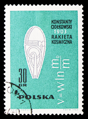 MOSCOW, RUSSIA - SEPTEMBER 15, 2018: A stamp printed in Poland shows K.E.Tsiolkovskys rocket and rocket speed formula, American and Russian Spacecrafts serie, circa 1963