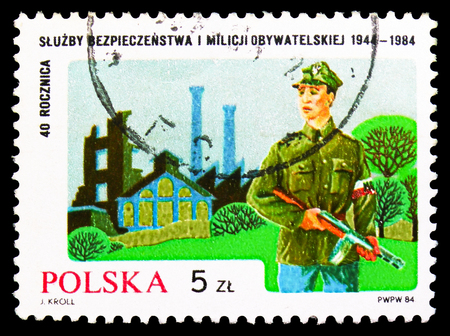 MOSCOW, RUSSIA - SEPTEMBER 15, 2018: A stamp printed in Poland shows Polish Militia, serie, circa 1984 Editorial