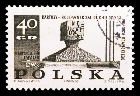MOSCOW, RUSSIA - SEPTEMBER 15, 2018: A stamp printed in Poland shows Monument in Kartuzy, Struggle and Martyrdom of the Polish People, 1939-45 serie, circa 1968