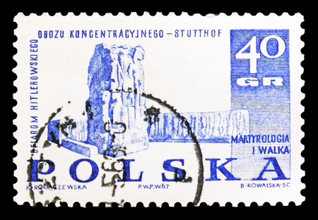MOSCOW, RUSSIA - SEPTEMBER 15, 2018: A stamp printed in Poland shows Monument in Stutthof, Struggle and Martyrdom of the Polish People, 1939-45 serie, circa 1967
