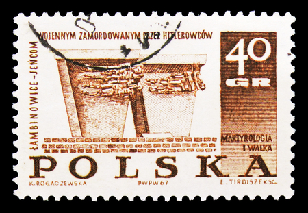 MOSCOW, RUSSIA - SEPTEMBER 15, 2018: A stamp printed in Poland shows Lambinowice-Jencom, Struggle and Martyrdom of the Polish People, 1939-45 serie, circa 1967