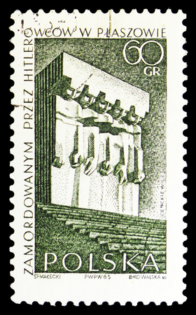MOSCOW, RUSSIA - SEPTEMBER 15, 2018: A stamp printed in Poland shows Plaszowie Memorial, Struggle and Martyrdom of the Polish People, 1939-45 serie, circa 1965