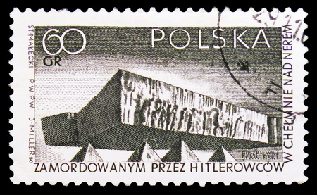 MOSCOW, RUSSIA - SEPTEMBER 15, 2018: A stamp printed in Poland shows Chelm Memorial, Struggle and Martyrdom of the Polish People, 1939-45 serie, circa 1965