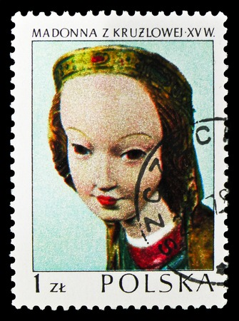 MOSCOW, RUSSIA - SEPTEMBER 15, 2018: A stamp printed in Poland shows Kruzlowa Madonna, 1410, Polish Art serie, circa 1973