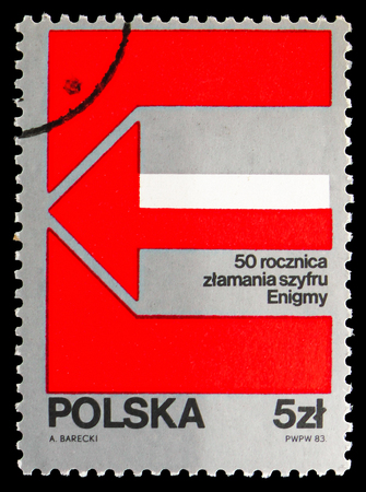 MOSCOW, RUSSIA - SEPTEMBER 15, 2018: A stamp printed in Poland shows Enigma Decoding Machine, 50th Anniversary, serie, circa 1983