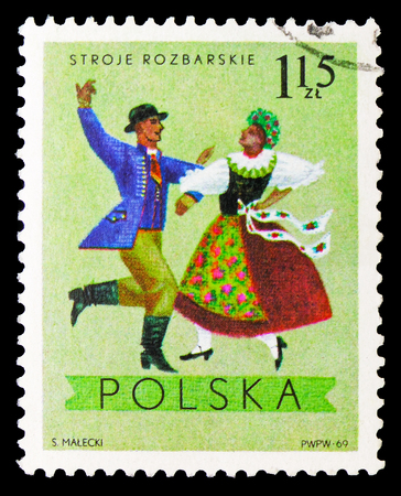 MOSCOW, RUSSIA - SEPTEMBER 15, 2018: A stamp printed in Poland shows Rozbark, Katowice, Regional Costumes serie, circa 1969 Editorial