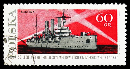 MOSCOW, RUSSIA - SEPTEMBER 15, 2018: A stamp printed in Poland shows Cruiser Aurora, Russian Revolution, 50th Anniversary serie, circa 1967