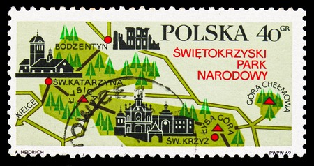 MOSCOW, RUSSIA - SEPTEMBER 15, 2018: A stamp printed in Poland shows Tourist map of Swietokrzyski National Park, Tourist Publicity serie, circa 1969 Sajtókép