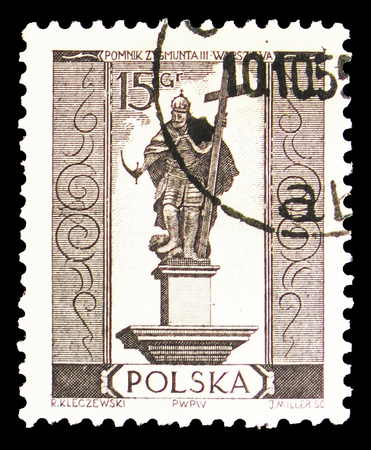 MOSCOW, RUSSIA - SEPTEMBER 15, 2018: A stamp printed in Poland shows Zygmunt III Waza, Warsaw Monuments serie, circa 1955