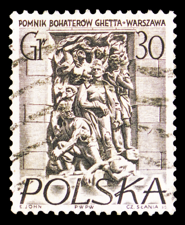 MOSCOW, RUSSIA - SEPTEMBER 15, 2018: A stamp printed in Poland shows The Ghetto Heroe's Memorial, Warsaw Monuments serie, circa 1956
