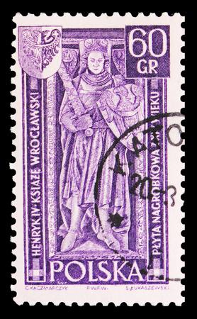 Moscú, Rusia - 15 de septiembre de 2018: Un sello impreso en Polonia muestra la lápida de Enrique IV y el sello, Wroclaw, serie de territorios recuperados, circa 1961 Editorial