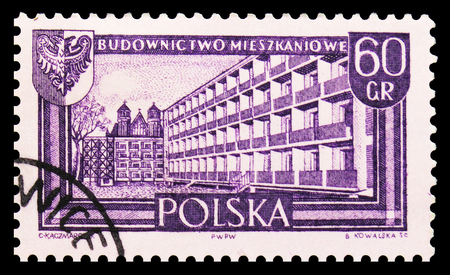 MOSCOW, RUSSIA - SEPTEMBER 15, 2018: A stamp printed in Poland shows Apartament houses, Wroclaw, Recovered territories serie, circa 1961 Sajtókép
