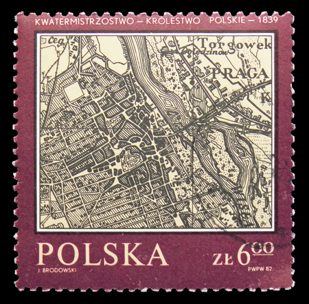 MOSCOW, RUSSIA - SEPTEMBER 15, 2018: A stamp printed in Poland shows Warsaw,Polish Kingdom Quartermaster, 1839, Map of Poland serie, circa 1982